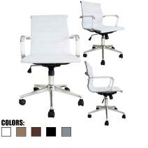 2xhome Mid Century Office Chair with Arms Wheels Modern Desk Chair Ergonomic Executive Chair Mid Back PU Leather Arm Rest Tilt Adjustable Height Swivel Task Computer Conference Room White