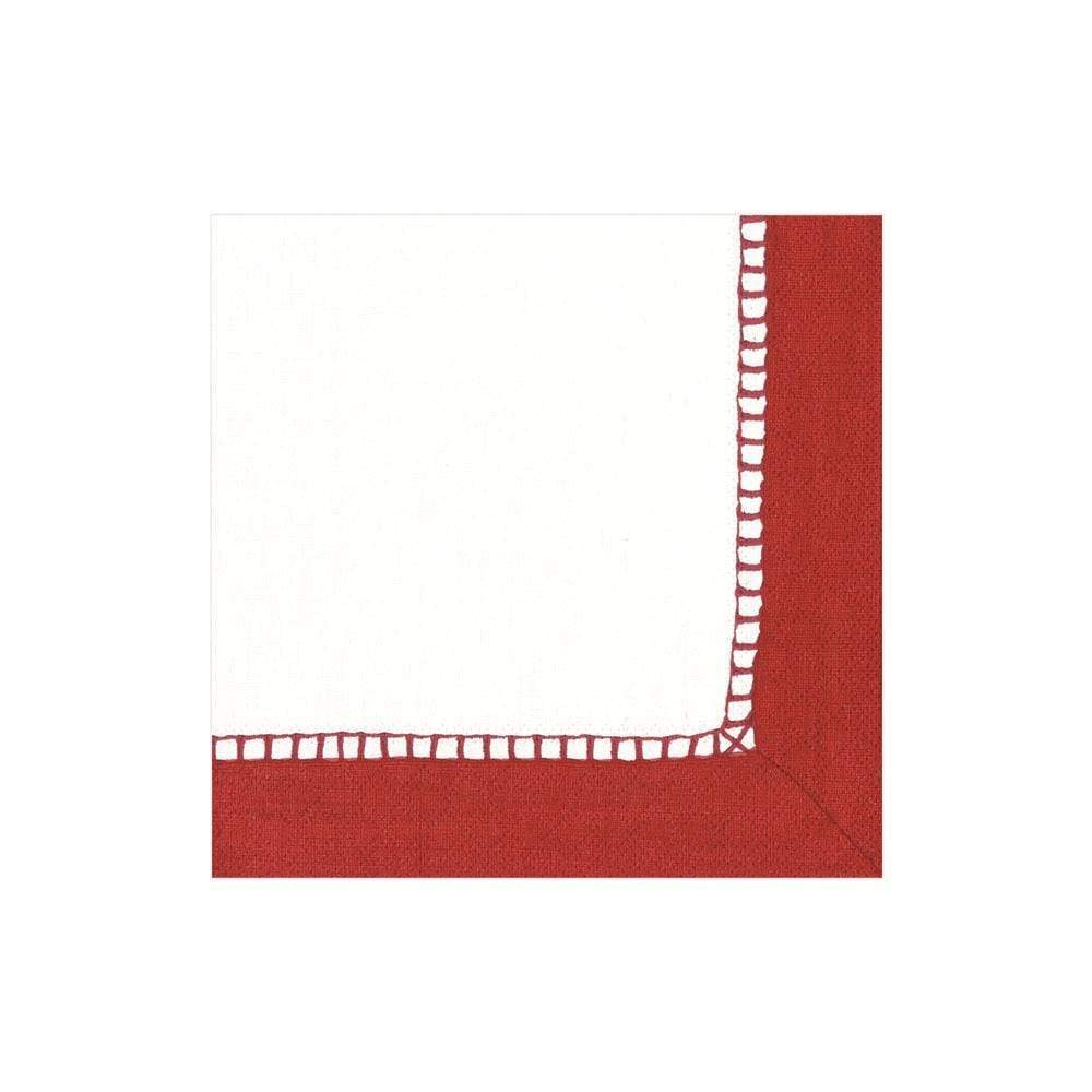 Caspari Linen Border Paper Cocktail Napkins in Red - 20 Per Package