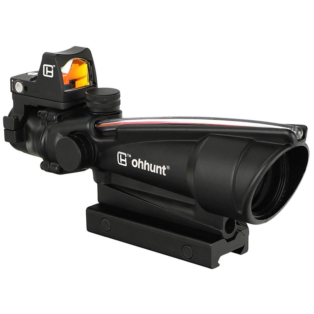 ohhunt 5X35 Red Fiber Optic Illuminated Horseshoe Dot Scope with 3 MOA Red Dot Sight