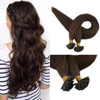 "Full Shine 16"" 1g Per Strand 50g Per Package Keratin U Tip Real Natural Nail Tip Hair Extensions Color #4 Medium Brown Remy Fusion Hair Extensions Utip Hair Extensions"