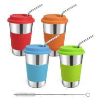 Rommeka Stainless Steel Tumbler, Unbreakable 16oz Drinking Cups Eco-Friendly Kids Cups with Straws and Lids for Adults, Toddlers and Children (4 Pack)