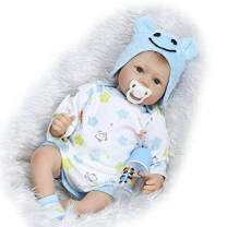 Nicery Reborn Baby Doll Soft Simulation Silicone Vinyl Cloth Body 22 inch 55 cm Magnetic Mouth Lifelike Vivid Boy Girl Toy for Ages 3+ Cloth Body Blue Hat RD55C162