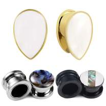 3 Pairs LADEMAYH Ear Tunnels Plugs Gauges Inlaid Shell Ears Piercing Jewelry, Women Mens Stainless Steel Ear Stretching Gauges