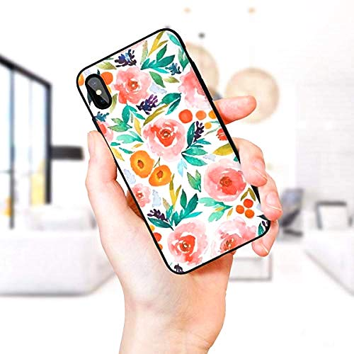 Watercolor Camellia Compatible with iPhone Xs Max Case, Soft Sided Hard Shell Anti Scratch Shockproof Protective Cover