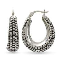 LeCalla Sterling Silver Jewelry Light-Weight Click-Top Hoop Earrings for Women