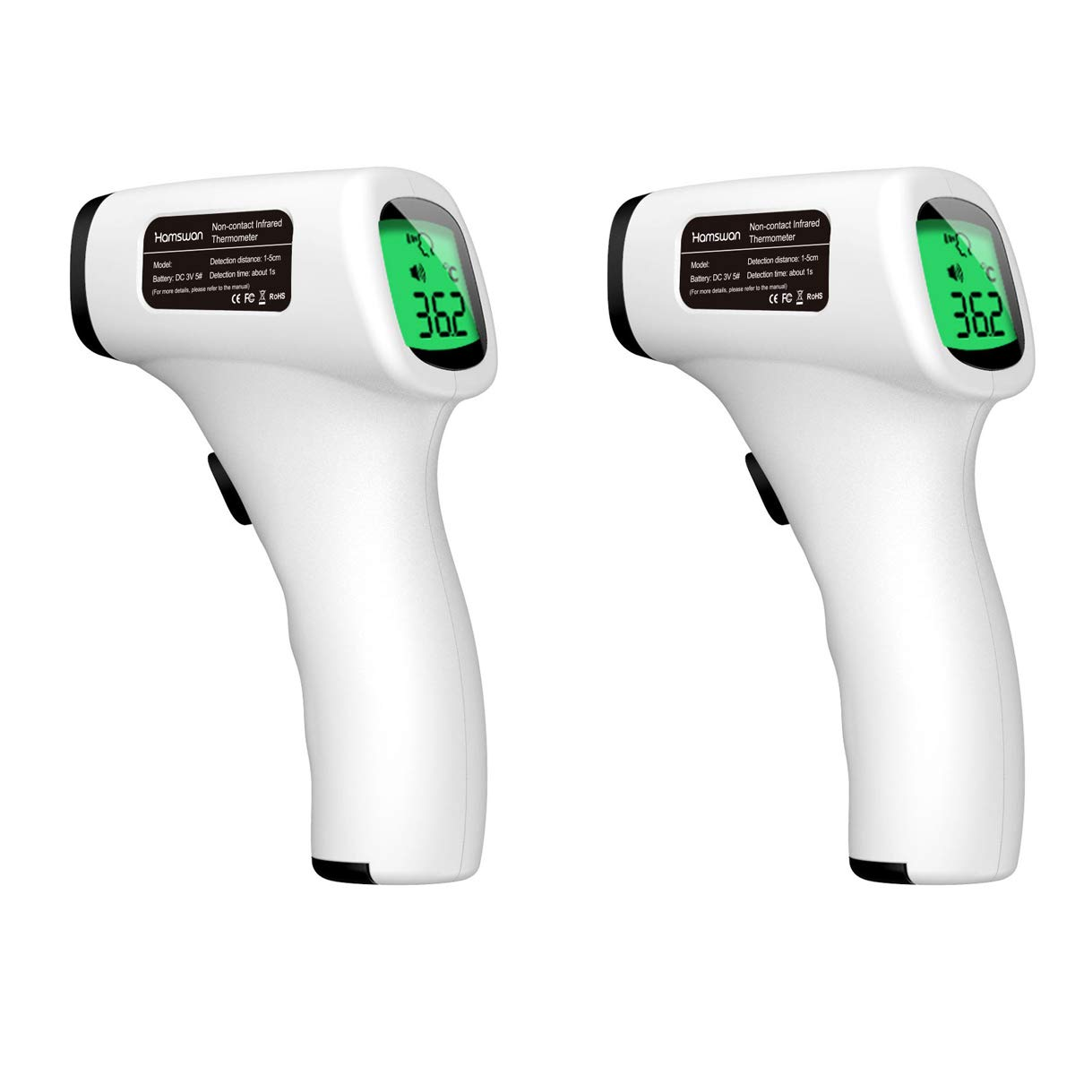 HAMSWAN Non-Contact Digital Infrared Forehead Thermometer Digital Infrared Temperature Gun with LCD Display Accurate Instant Readings Thermometer for Kids Baby Adult (2 Pack)