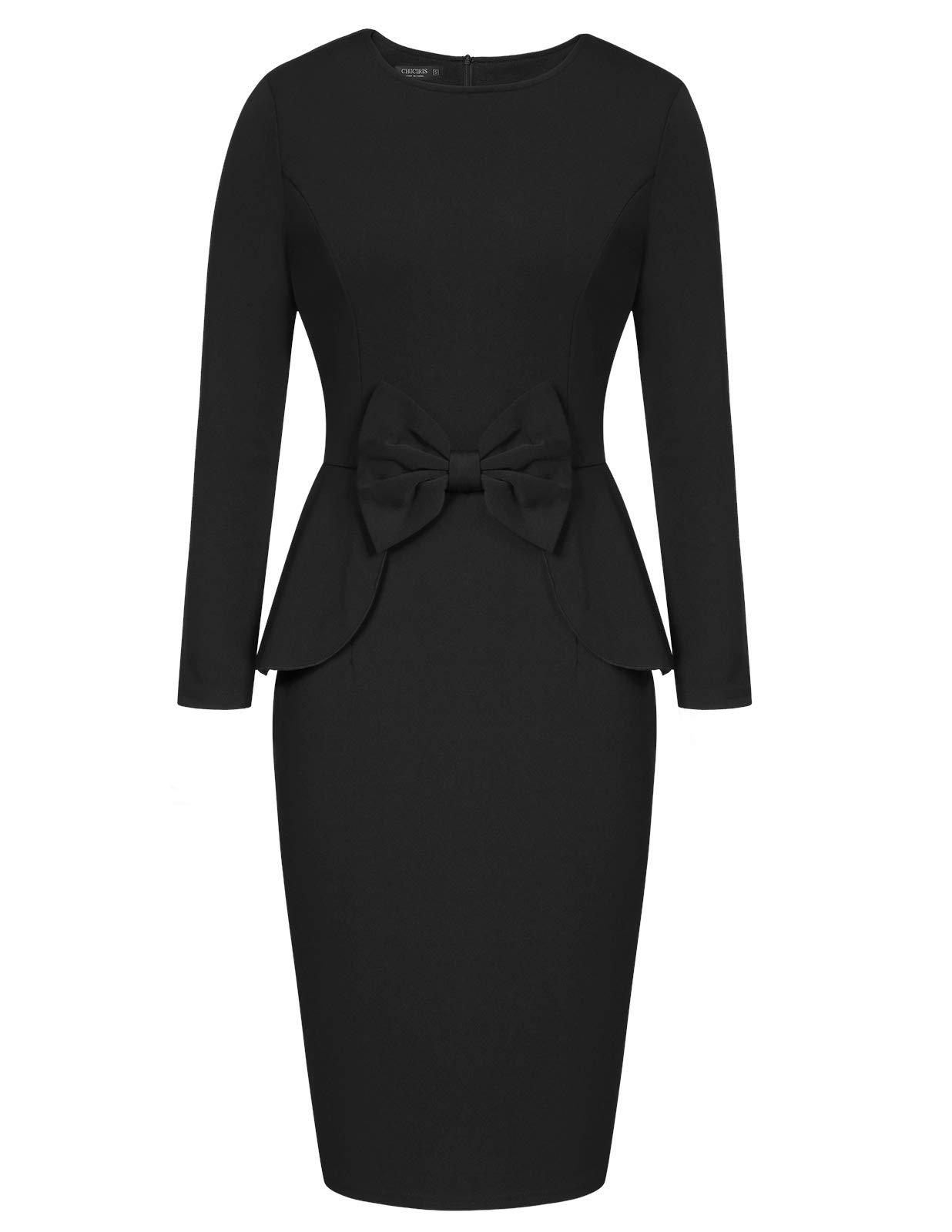 CHICIRIS Women's Vintage Long Sleeve Crossover V Neck Ruffle Waist Tank Bodycon Pencil Dress