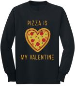 Pizza is My Valentine - Gift for Pizza Lovers Youth Kids Long Sleeve T-Shirt