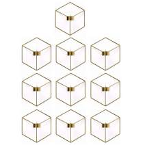 10 Pcs Nordic Style 3D Metal Geometric Wall Hanging Tealight Candle Holder Sconce Home Decor Living Room Wedding Coffee Bar Wall Decoration (Gold)