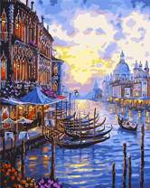 """7-Mi DIY Paint by Numbers, Canvas Oil Painting Kit for Kids & Adults, 16"""" W x 20"""" L Drawing Paintwork with Paintbrushes, Acrylic Pigment-Venice"""