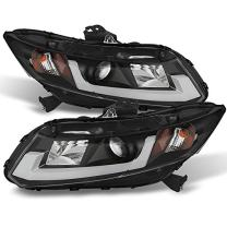 For Honda Civic 4 Doors Sedan Black Bezel DRL Light Tube Projector Headlights Driver Passenger Lamps
