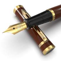 Wordsworth & Black Fountain Pen Set[Brown-Gold]Medium Nib-Journaling and Calligraphy-Smooth Writing Pens- 6 Free Ink Cartridges & Ink Refill Converter-Luxury Gift-Perfect for Men & Women