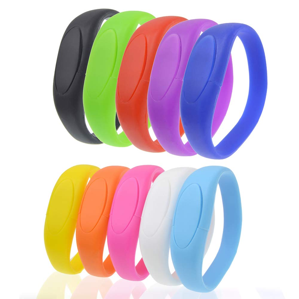 Wristband Thumb Drive 8GB Pack of 10 USB 2.0 Flash Drives, Kepmem Fashinable Jump Dirve Bracelet Memory Stick, Multipack Pen Drives Colorful Storage Gift for Kids