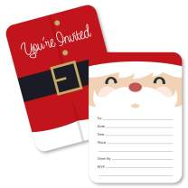 Big Dot of Happiness Jolly Santa Claus - Shaped Fill-in Invitations - Christmas Party Invitation Cards with Envelopes - Set of 12
