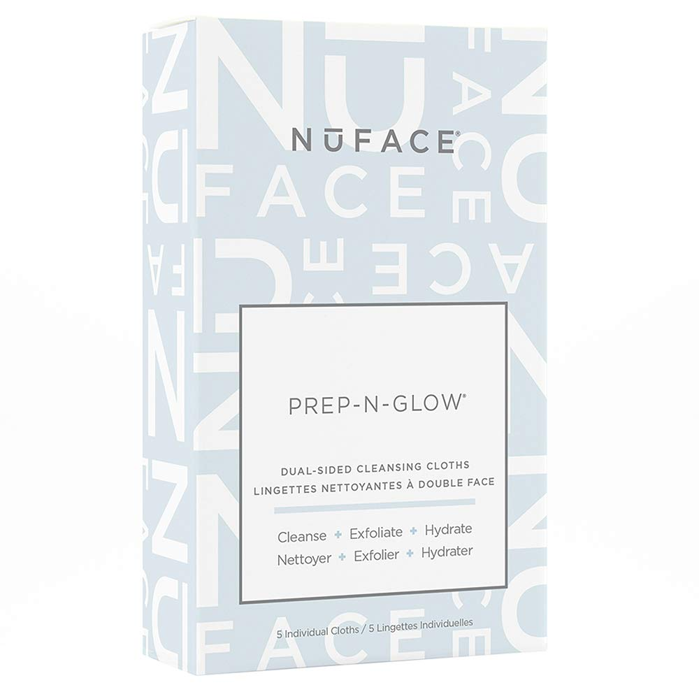 NuFACE Prep-N-Glow Cloths Cleansing, Exfoliating, and Hydrating Wipes