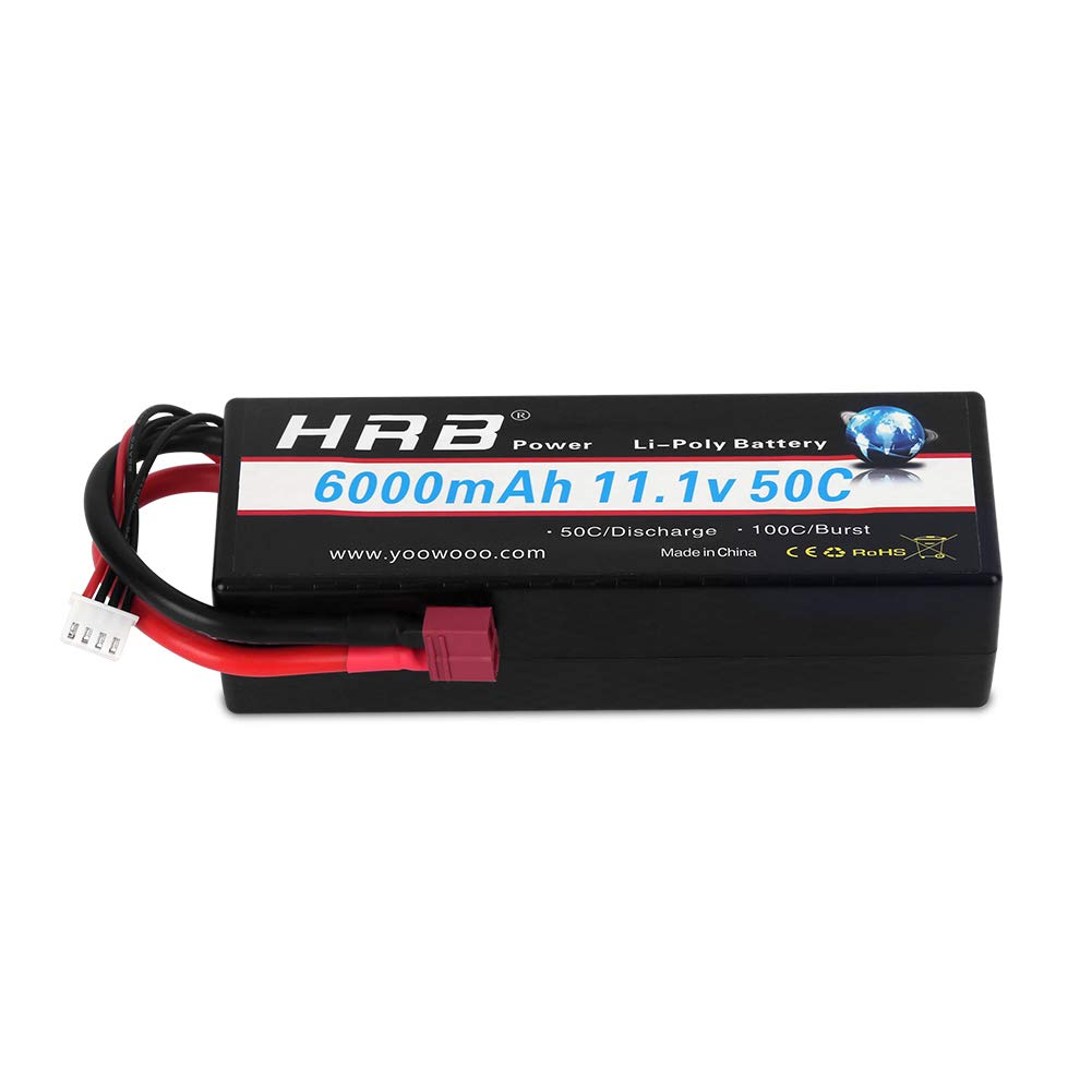 HRB 3S Lipo Battery 11.1v 6000mAh 50C Hard Case RC Battery with Deans Connector Plug for RC 1/8 1/10 Scale Vehicles Car,Trucks,Boats