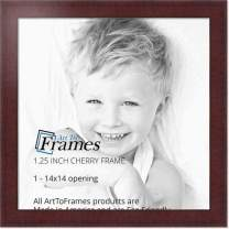 "ArtToFrames 14x14 Inch Red Picture Frame, This 1.25"" Custom Poster Frame is Cherry Style, for Your Art or Photos - Comes with Regular Glass, WOMBW26-039-14x14"