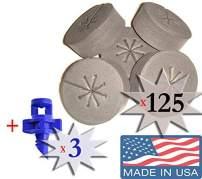 125 Pack Black - NEW SPOKE DESIGN - Net Pot Cloning Collars Inserts + FREE Micro Sprayers!! DIY Cloner and Clone Machines by Cz Garden Supply (125 pack)