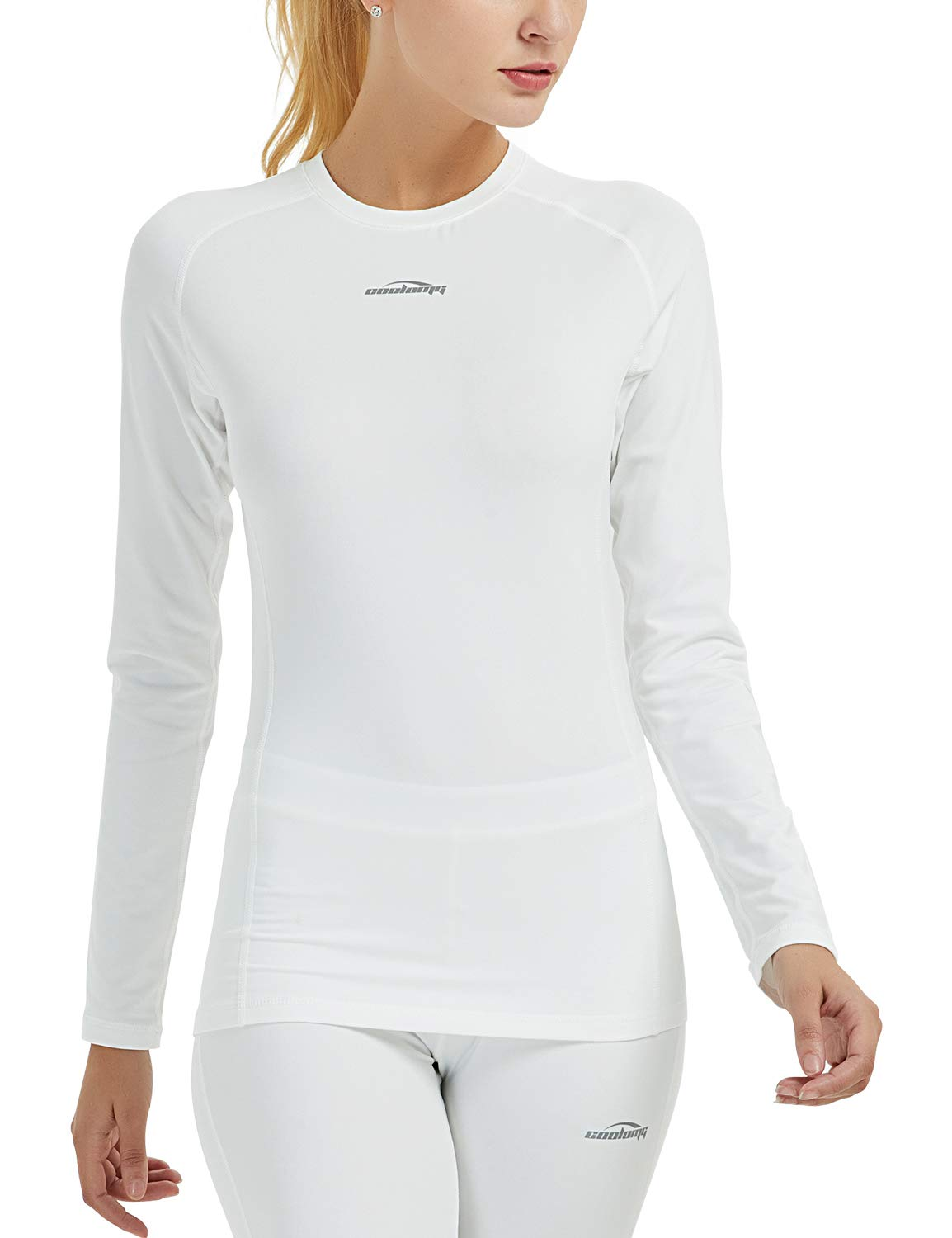Women's Thermal Compression Shirt Baselayer Long Sleeve Fleece-Lined Winter Workout Yoga Running Tops