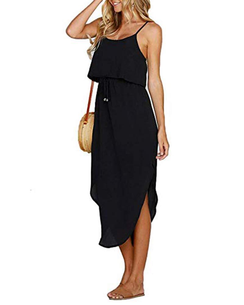 Imily Bela Womens Sleeveless Beach Dress Chiffon Ruffle Strappy Drape Summer Tank Dress