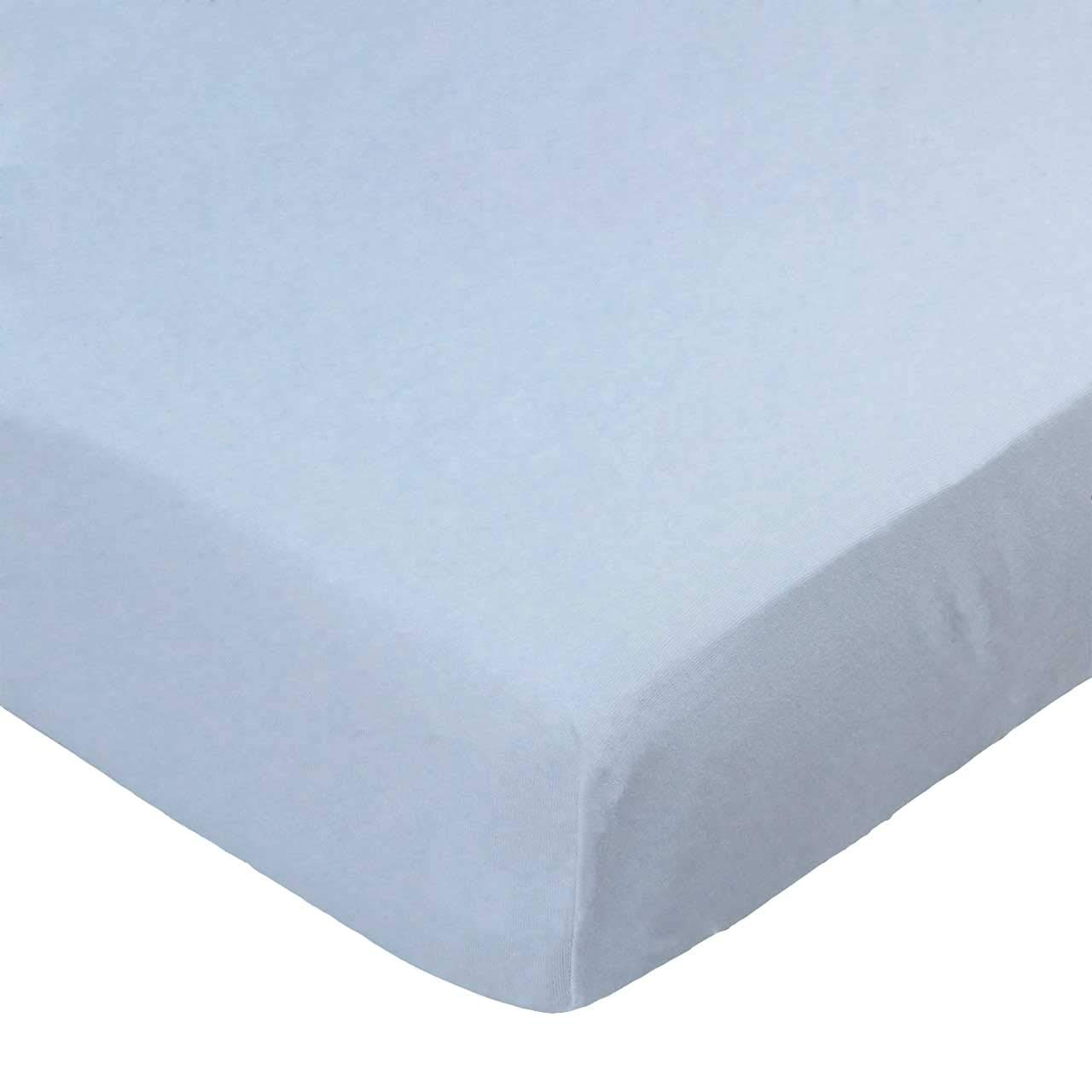SheetWorld Fitted Pack N Play (Graco) Sheet - Organic Baby Blue Jersey Knit - Made In USA
