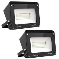 Onforu LED Flood Light 60W 2 Pack, 6000lm Super Bright Security Light with Shield, 5000K Daylight White Outdoor FLoodlight, IP66 Waterproof Exterior Light for Landscape, Yard, Garden, Basketball Court