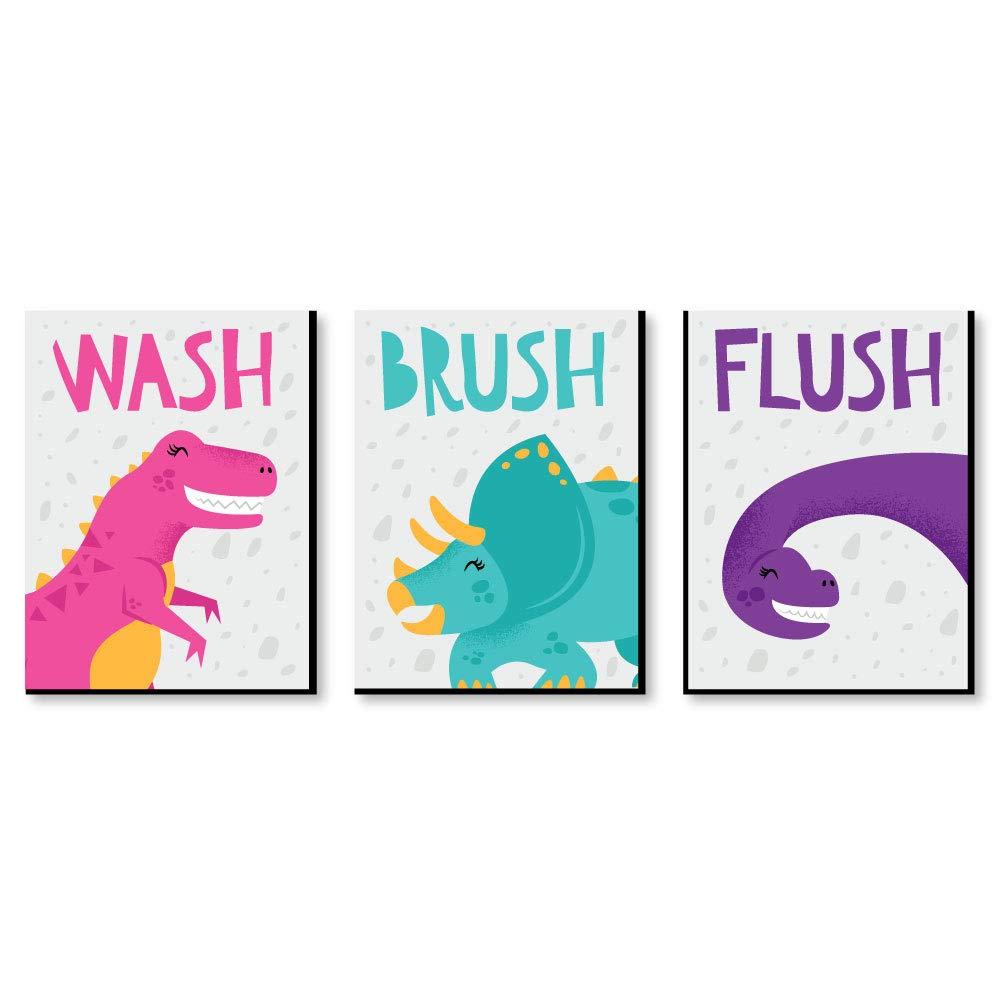 Big Dot of Happiness Roar Dinosaur Girl - Kids Bathroom Rules Wall Art - 7.5 x 10 inches - Set of 3 Signs - Wash, Brush, Flush