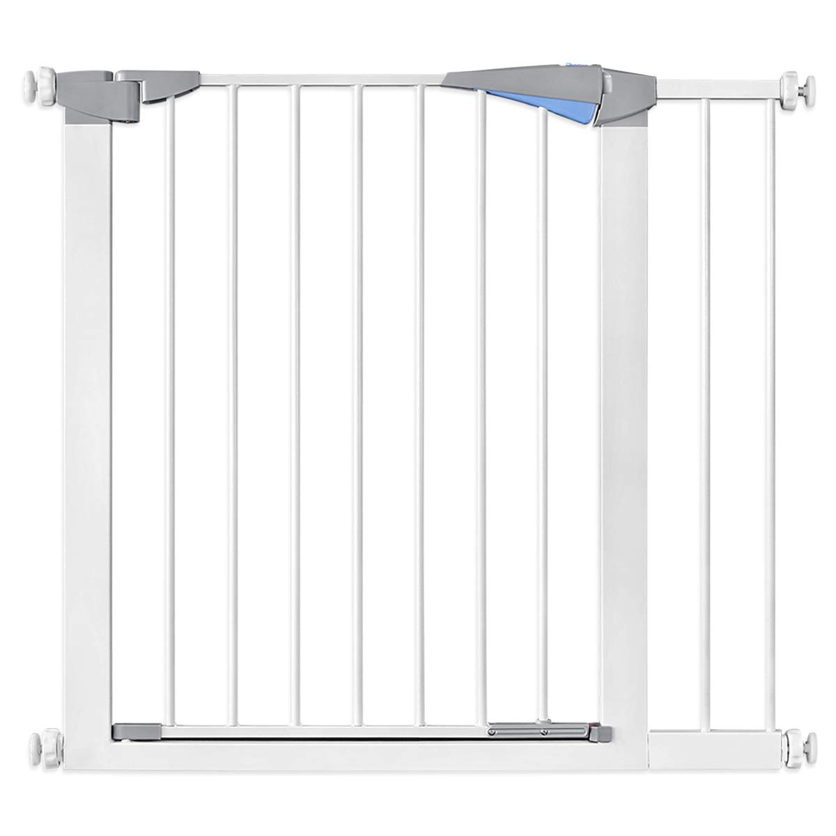 """34.6"""" Auto Close Safety Baby Gate, Extra Wide Walk Thru Dog Gate with Pressure or Hardware Mount for Stairs, Doorways and Hallways, Includes 5.5"""" Extension Kits, White"""