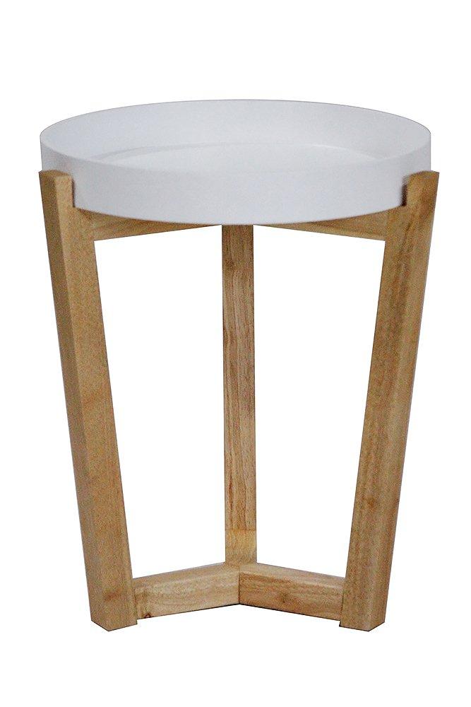 "Heather Ann Creations Euro Collection Modern Tri Leg Round Accent Table, 19.7"" Tall, White"