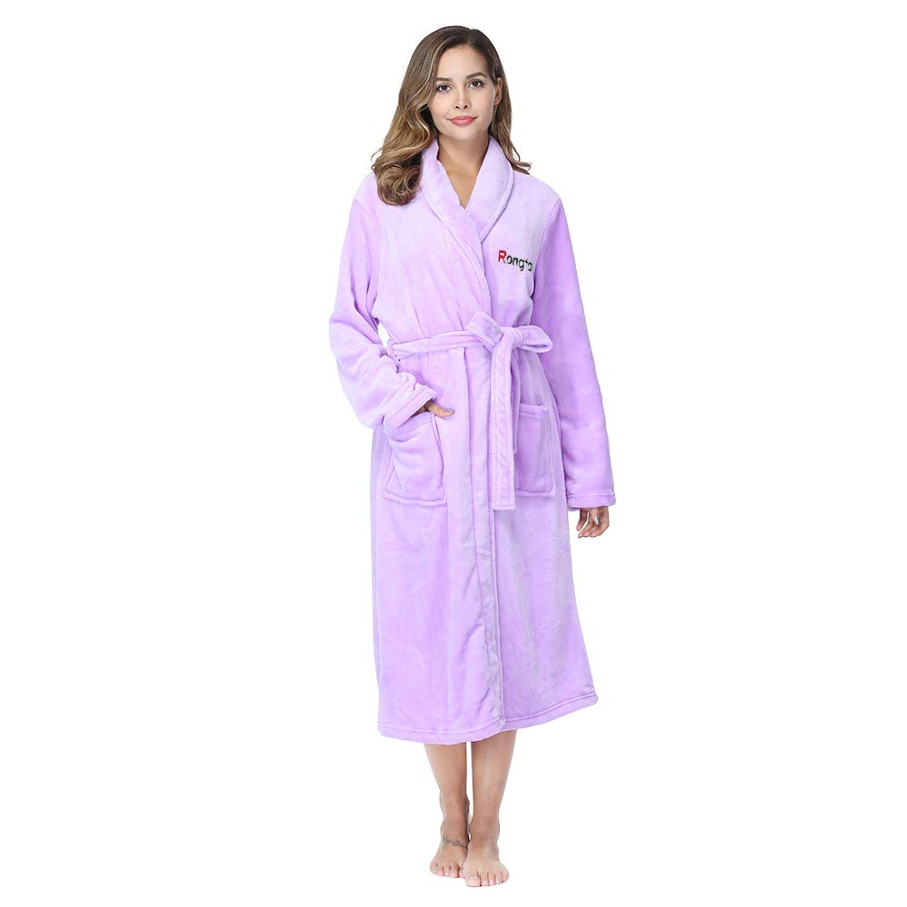 RONGTAI Fleece Robe for Women Plush Soft Warm Long Bathrobe with Pockets