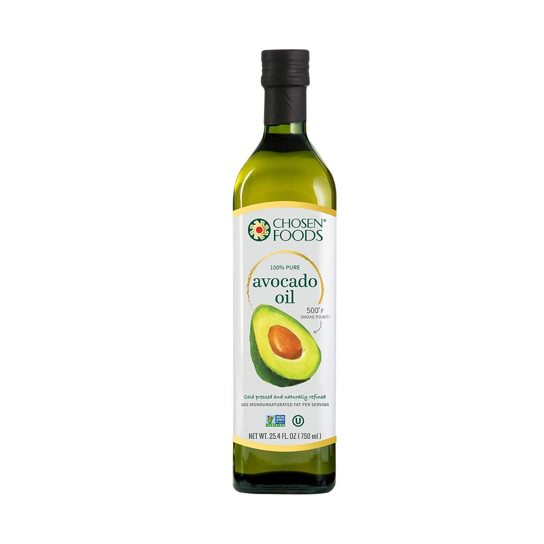 Chosen Foods 100% Avocado Oil Gold Label 25.4 oz., Non-GMO, for High-Heat Cooking, Frying, Baking, Homemade Sauces, Dressings and Marinades