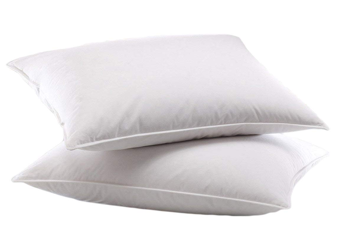 OrganicTextiles Natural Down Alternative Pillows, Queen Size, 2 Pack Set, 100% Organic Cotton Cover Protector, Hypoallergenic, Adjustable Loft for Desired Firmness and Loft, Toxic Free Bed Pillows
