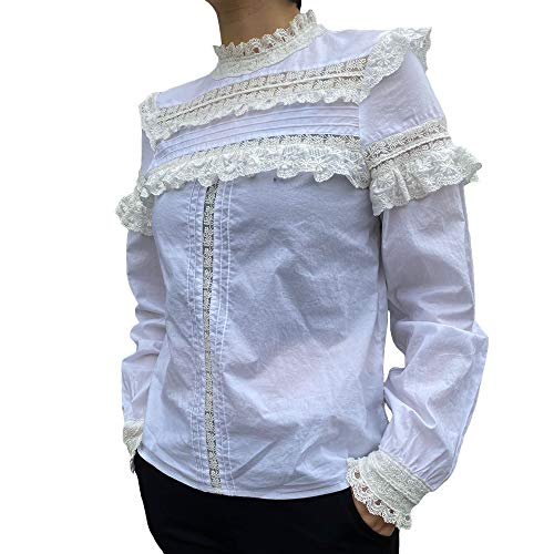 Beauty Garden Womens Casual High Neck Lace Long Regular Fit Sleeve Blouse Tunic Tops Shirts
