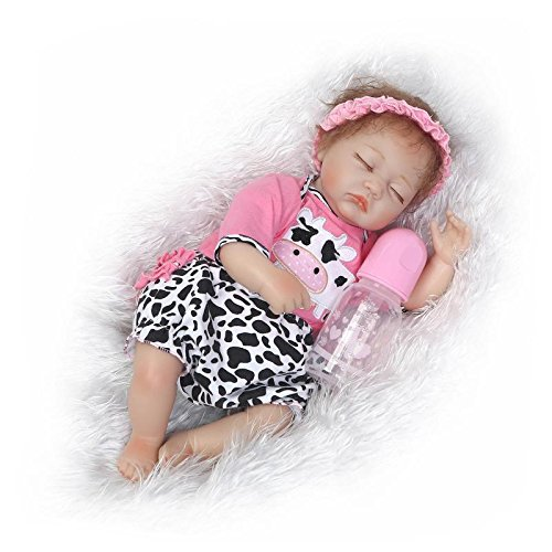 Nicery Reborn Baby Doll Soft Simulation Silicone Vinyl Cloth Body 18 inch 45 cm Magnetic Mouth Lifelike Vivid Boy Girl Toy for Ages 3+ Pink White Cow