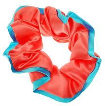 L. Erickson USA Edged Scrunchie - Silk Charmeuse Coral/Reef
