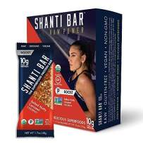SHANTI BAR Vegan Sport Protein Bar | Plant Based, Paleo, Certified Organic, Gluten Free, Superfoods, Raw Snack | BOOST Salted Nutty Caramel Coconut, 12 Count, 1.07 oz Bars