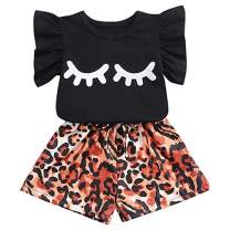 Toddler Baby Girls Clothes Summer Tops T-Shirts Vest + Shorts Pants Outfit Set for Girls Kids (Black-Eyebrow, 4-5T)