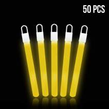 Lumistick 4 Inch Glow Sticks with Detachable Top Loop & Strings | Non-Toxic Glow in The Dark Camping Night Party Favor Supplies | Bright Colors Light Glowing up to 12 Hours (Yellow, 50 Glow Sticks)