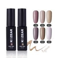 KOZEAR 6 Colors Gel Nail Polish Set, 0.28 Fl Oz Nonpoisonous Fast Dry Soak Off UV LED Nude Gray Nail Gel Kit - Nude Color Series Gel Polish Gift Box, C008