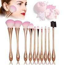 Makeup Brushes Set-Luismia 10 Peices Cosmetic Blending Brushes with PU Leather Case Bag-Eyeliner Face Powder Lip Brush Makeup Brush Kit (Gold)