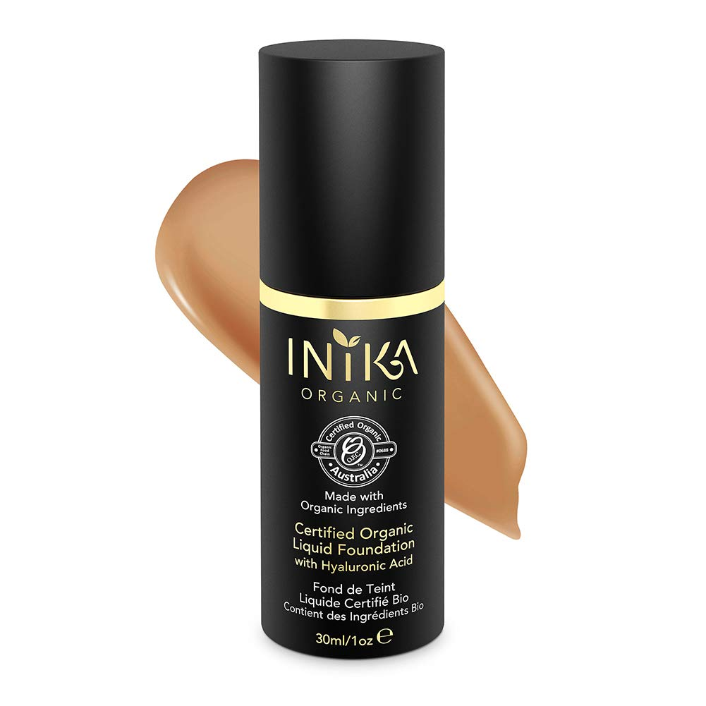 INIKA Certified Organic Liquid Foundation with Hyaluronic Acid All Natural Make-up Base, Flawless Long-Lasting Coverage, Lightweight, Hypoallergenic, Halal, 30 ml (1oz) (Honey)