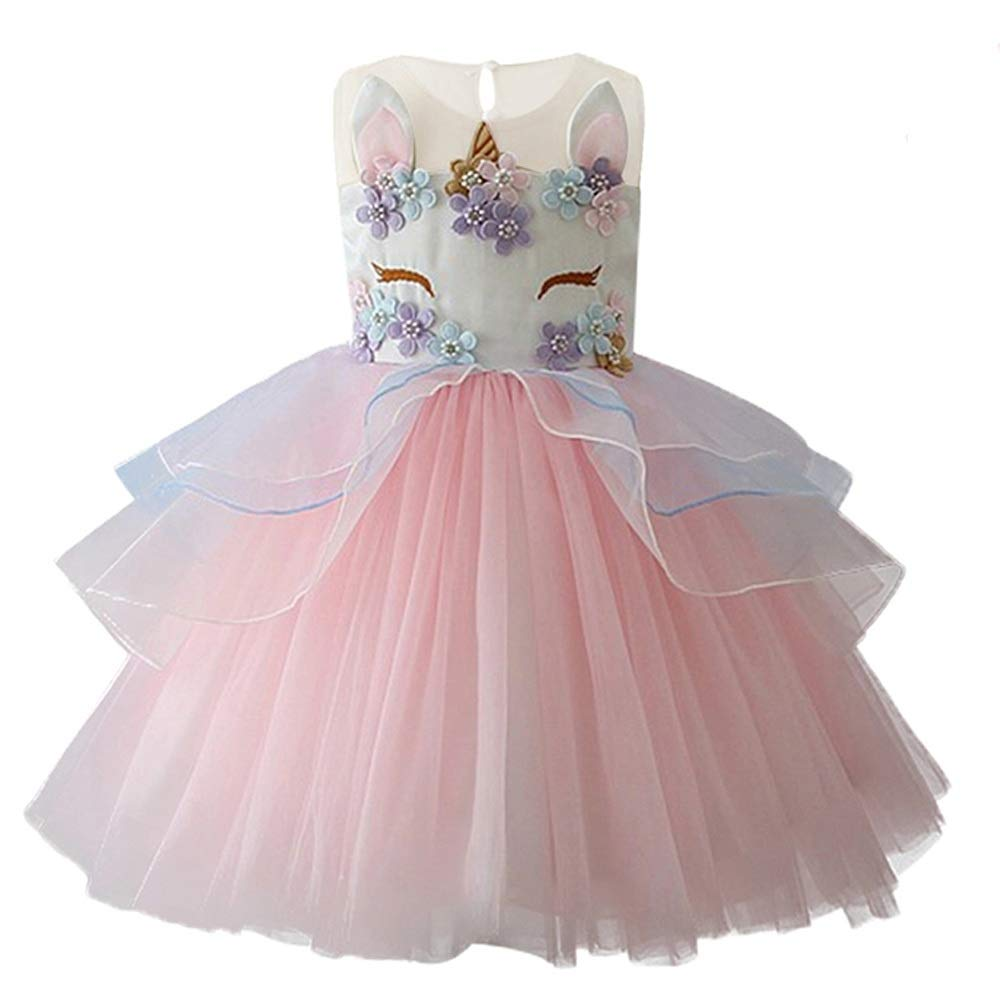 Girls Princess Unicorn Costume Tulle Tutu Dress Summer Sleeveless Costume