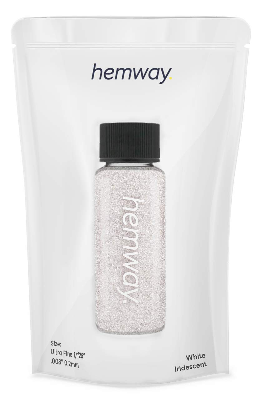 "Hemway Glitter Tube 12.8g / 0.45oz Extra Chunky 1/24"" 0.04"" 1MM Premium Sparkle Gel Nail Dust Art Powder Makeup Pigment Eyeshadow Face Body Eye Cosmetic Safe-(White)"