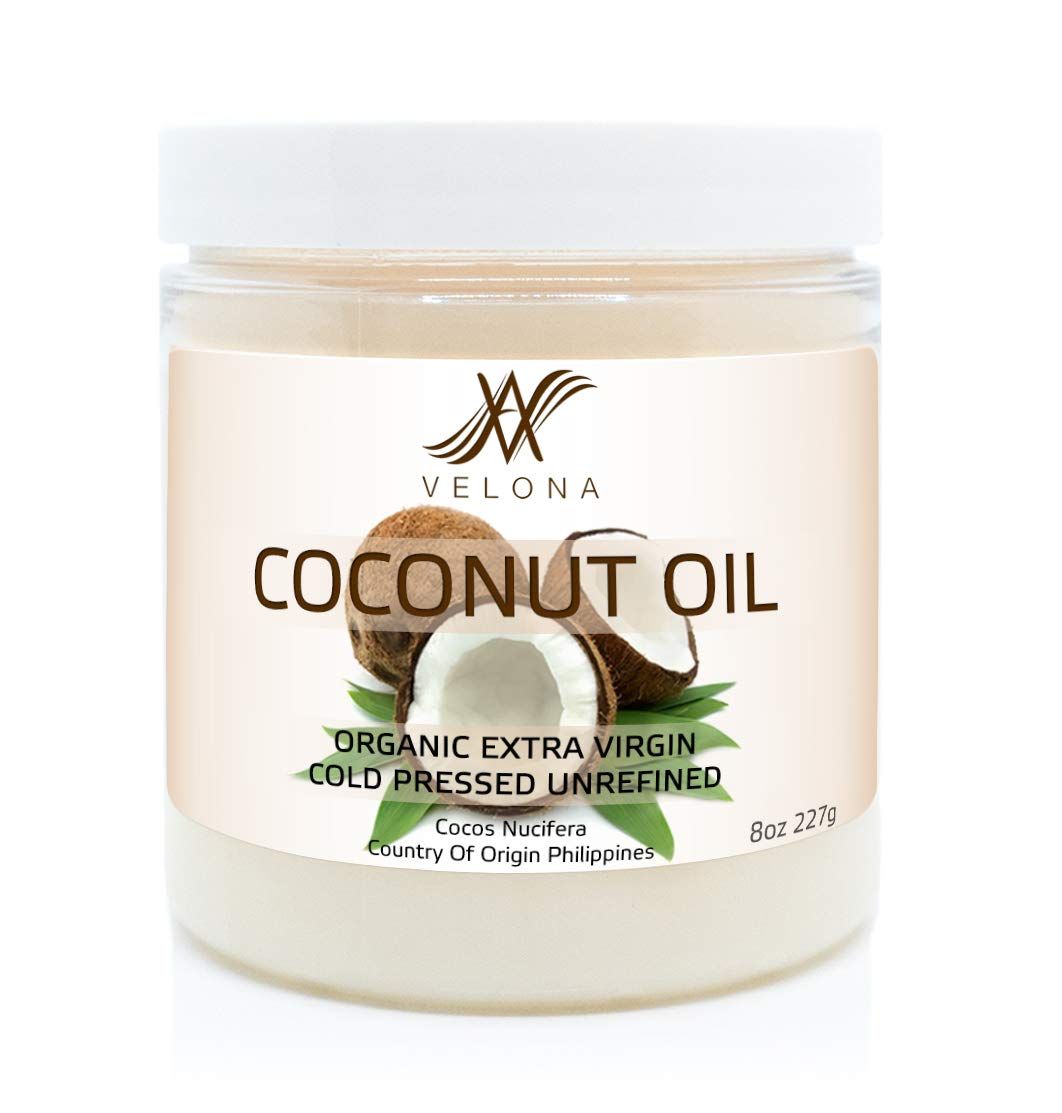 100% Natural Coconut Oil by Velona | All Natural Clear Carrier Oil for Face, Hair, Body and Skin Care | Extra Virgin, Expeller Pressed | in jar | Size: 8 oz