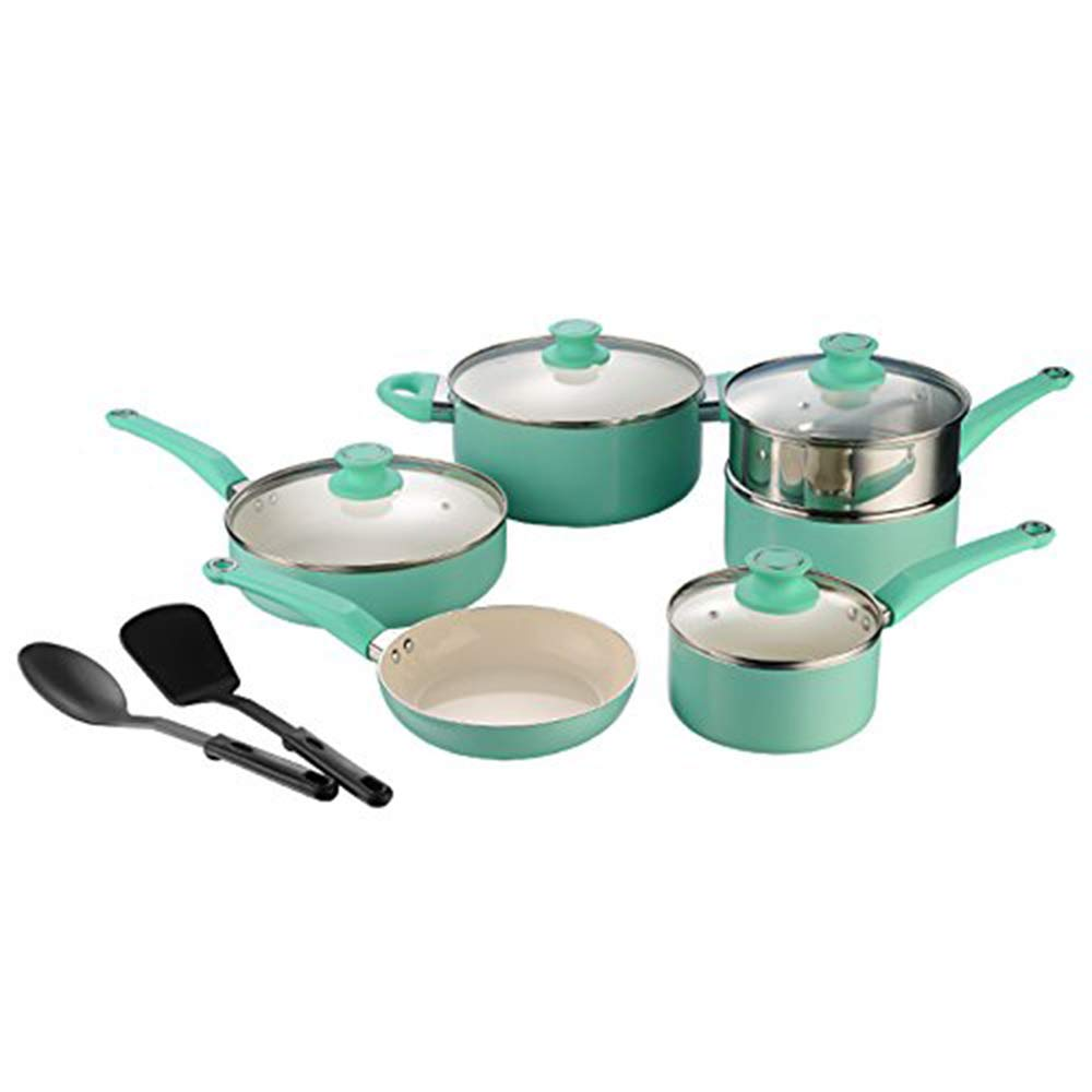 cooper pan 12 Piece Non-Stick Ceramic Kitchen Cookware Set, Ceramic Pots and Pan Set, Pan Set Pot Set, Stockpot Sauce Pan Skillet Dishwasher Safe,Tiffany Blue