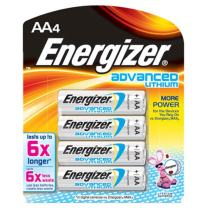 Energizer Advanced Lithium AA Battery 4 Pack