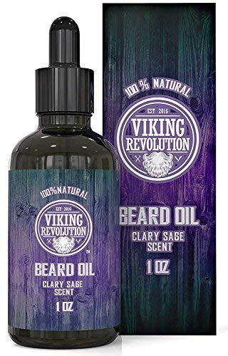 Beard Oil Conditioner - All Natural Clary Sage Scent with Organic Argan & Jojoba Oils - Promotes Beard Growth - Softens & Strengthens Beards and Mustaches for Men (1 Pack)