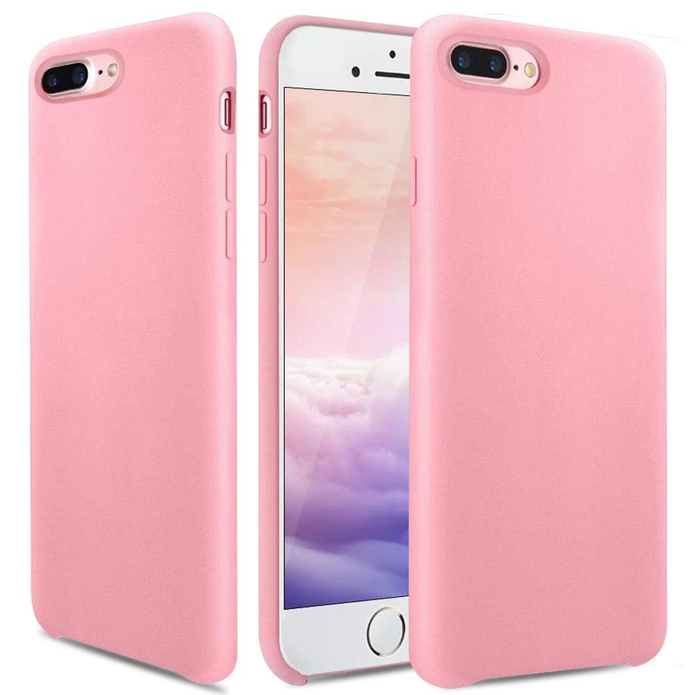 OCYCLONE iPhone 8 Plus Case, iPhone 7 Plus Case, [Ultra-Thin Series] Liquid Silicone iPhone 8 Plus/iPhone 7 Plus Case Rubber Soft Microfiber Cloth Cushion Pink Slim Fit Protective Case - Pink