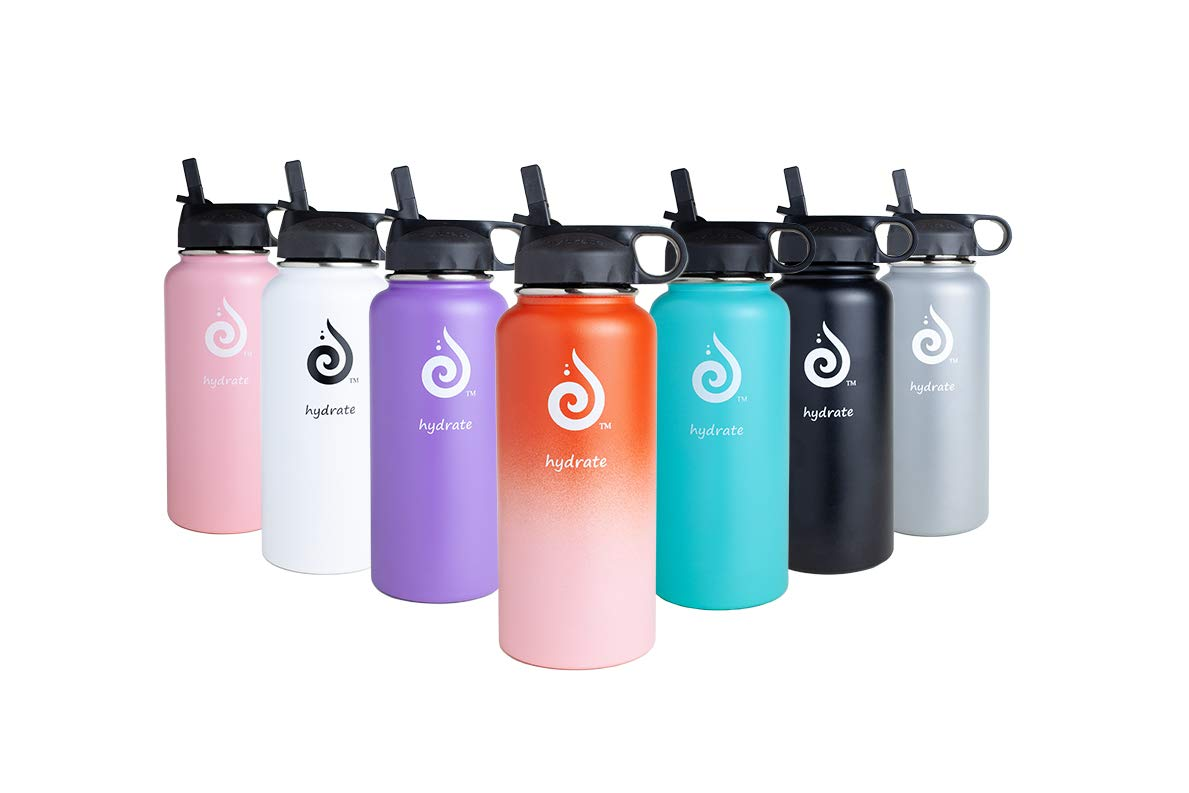 hydrate 32oz Stainless Steel Premium Water Bottle with BPA Straw Lid. 12 Great Colors
