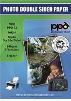 """PPD Inkjet Brochure Paper Double Sided Glossy Finish 140gsm 37lb LTR 8.5 x 11"""" (50)"""